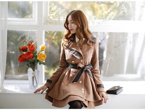 Áo dạ dáng xòe phong cách Hàn