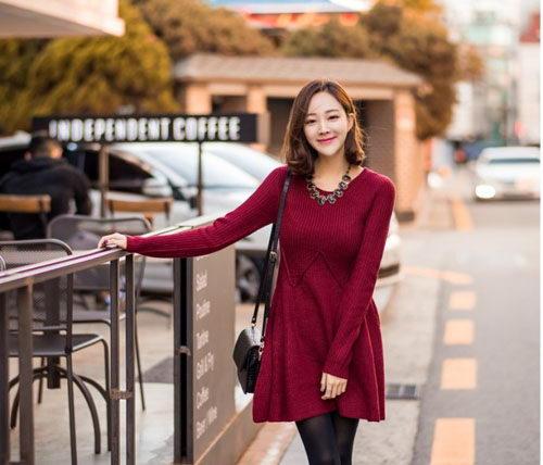 Váy len đẹp phong cách Hàn Quốc